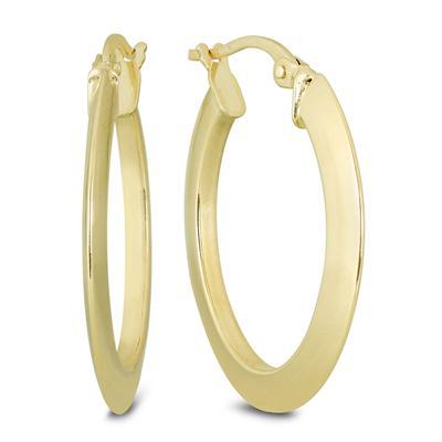 30MM Oval Hoop Earrings in 14K Yellow Gold
