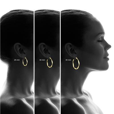 25MM Twisted Wavy Hoop Earrings in 14K Yellow Gold