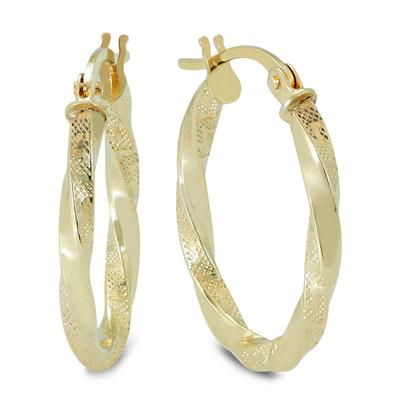 20MM Twisted Engraved Oval Hoop Earrings in 14K Yellow Gold