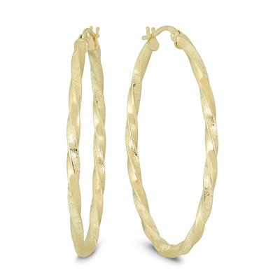 40MM Twisted Engraved Oval Hoop Earrings in 14K Yellow Gold