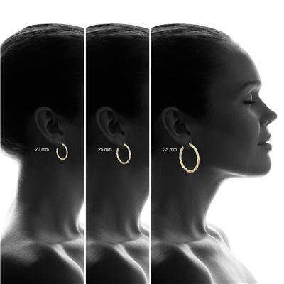 35 MM Round Multi-Tone Hoop Earrings in 10K Gold