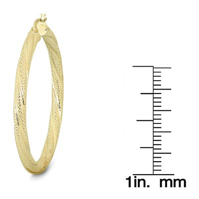 35MM Round Luster Hoop Earrings in 10K Yellow Gold