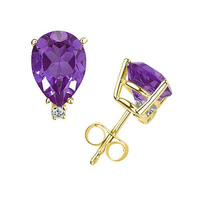 10X8mm Pear Amethyst and Diamond Stud Earrings in 14K Yellow Gold