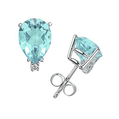9X7mm Pear Aquamarine and Diamond Stud Earrings in 14K White Gold