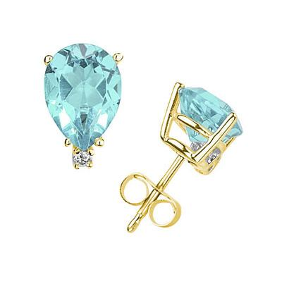 12X8mm Pear Aquamarine and Diamond Stud Earrings in 14K Yellow Gold