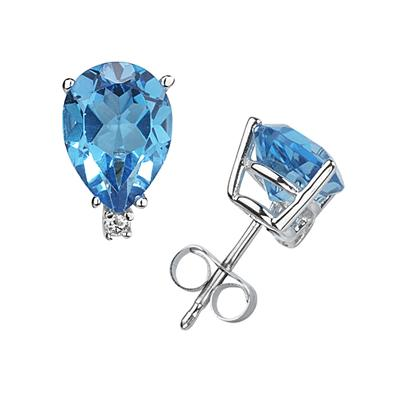 7X5mm Pear Blue Topaz and Diamond Stud Earrings in 14K White Gold