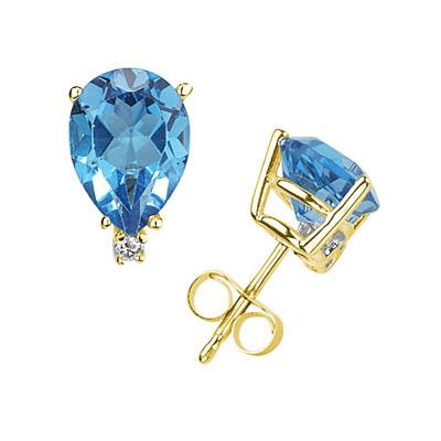 6X4mm Pear Blue Topaz and Diamond Stud Earrings in 14K Yellow Gold