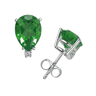 8X6mm Pear Emerald and Diamond Stud Earrings in 14K White Gold