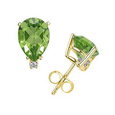 9X7mm Pear Peridot and Diamond Stud Earrings in 14K Yellow Gold