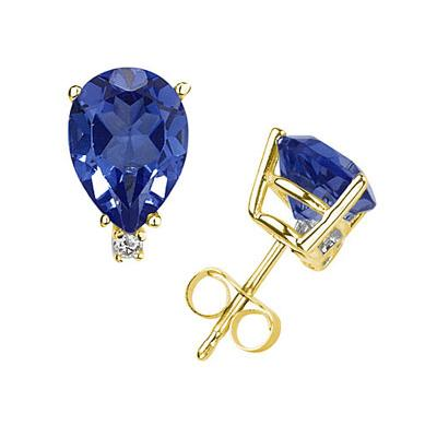 6X4mm Pear Sapphire and Diamond Stud Earrings in 14K Yellow Gold