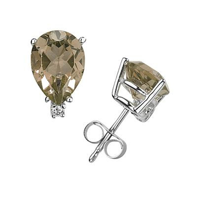 9X7mm Pear Smokey Quartz and Diamond Stud Earrings in 14K White Gold