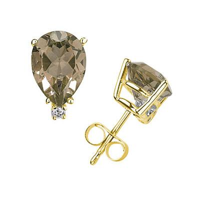 9X7mm Pear Smokey Quartz and Diamond Stud Earrings in 14K Yellow Gold