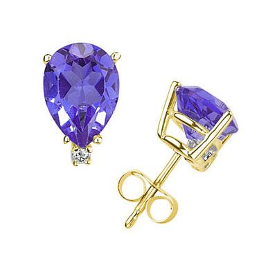 7X5mm Pear Tanzanite and Diamond Stud Earrings in 14K Yellow Gold