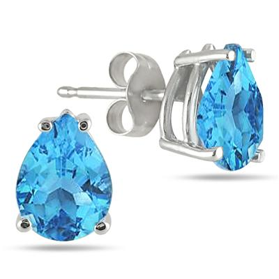 All-Natural Genuine 5x3 mm, Pear Shape Blue Topaz earrings set in 14k White Gold