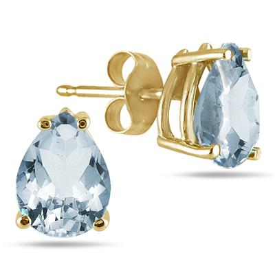 All-Natural Genuine 6x4 mm, Pear Shape Aquamarine earrings set in 14k Yellow gold
