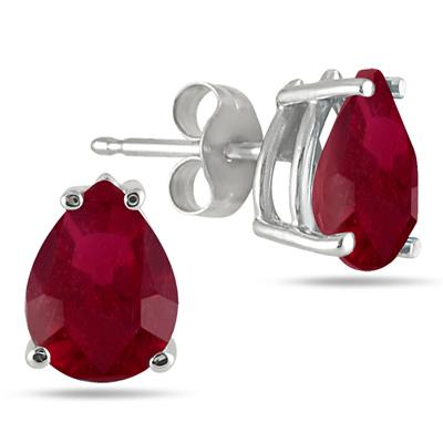 7x5MM All Natural Pear Ruby Stud Earrings in .925 Sterling Silver