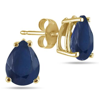 All-Natural Genuine 7x5 mm, Pear Shape Sapphire earrings set in 14k Yellow gold