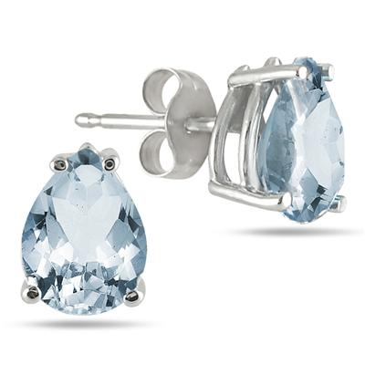 8x6MM All Natural Pear Aquamarine Stud Earrings in .925 Sterling Silver