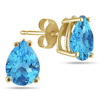 All-Natural Genuine 8x6 mm, Pear Shape Blue Topaz earrings set in 14k Yellow gold