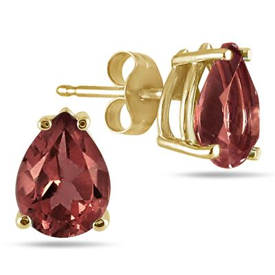 All-Natural Genuine 8x6 mm, Pear Shape Garnet earrings set in 14k Yellow gold