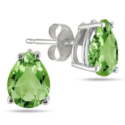 All-Natural Genuine 8x6 mm, Pear Shape Peridot earrings set in 14k White Gold
