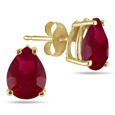 All-Natural Genuine 8x6 mm, Pear Shape Ruby earrings set in 14k Yellow gold