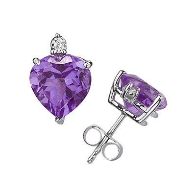 9mm Heart Amethyst and Diamond Stud Earrings in 14K White Gold