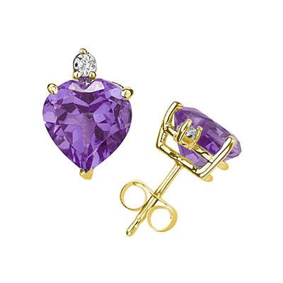 9mm Heart Amethyst and Diamond Stud Earrings in 14K Yellow Gold