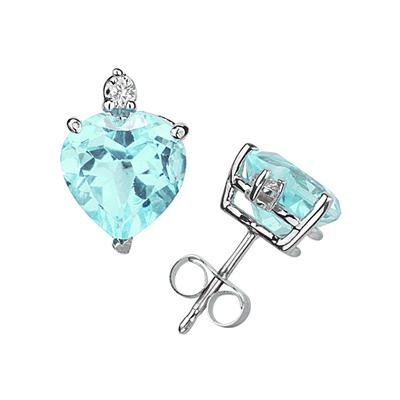 8mm Heart Aquamarine and Diamond Stud Earrings in 14K White Gold