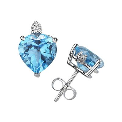 9mm Heart Blue Topaz and Diamond Stud Earrings in 14K White Gold