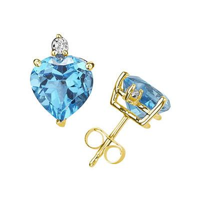 7mm Heart Blue Topaz and Diamond Stud Earrings in 14K Yellow Gold