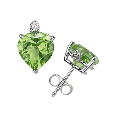 7mm Heart Peridot and Diamond Stud Earrings in 14K White Gold