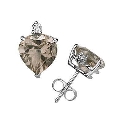 9mm Heart Smokey Quartz and Diamond Stud Earrings in 14K White Gold