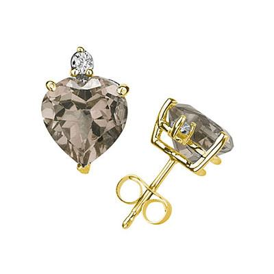 10mm Heart Smokey Quartz and Diamond Stud Earrings in 14K Yellow Gold
