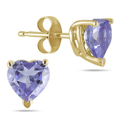 All-Natural Genuine 5 mm, Heart Shape Tanzanite earrings set in 14k Yellow gold