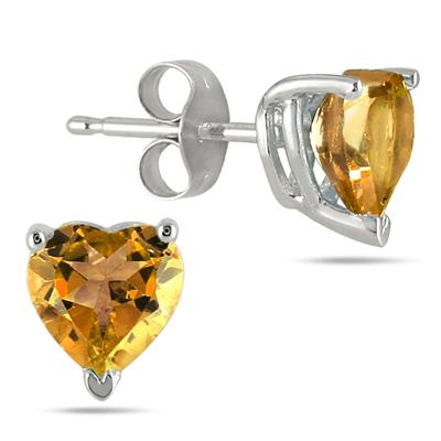 All-Natural Genuine 6 mm, Heart Shape Citrine earrings set in 14k White Gold