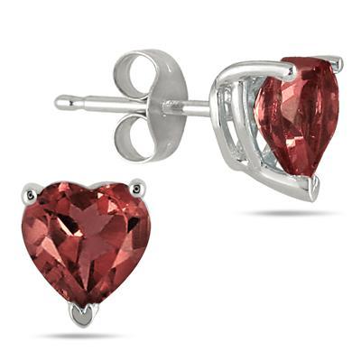 All-Natural Genuine 6 mm, Heart Shape Garnet earrings set in 14k White Gold