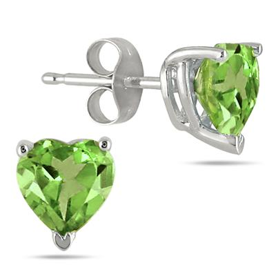 All-Natural Genuine 6 mm, Heart Shape Peridot earrings set in 14k White Gold