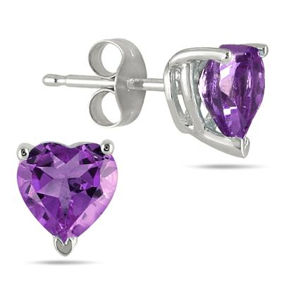 All-Natural Genuine 7 mm, Heart Shape Amethyst earrings set in 14k White Gold