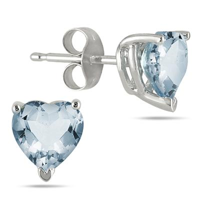 All-Natural Genuine 7 mm, Heart Shape Aquamarine earrings set in 14k White Gold