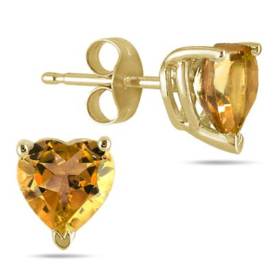 All-Natural Genuine 7 mm, Heart Shape Citrine earrings set in 14k Yellow gold