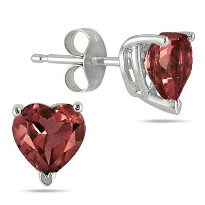 7MM All Natural Heart Garnet Stud Earrings in .925 Sterling Silver