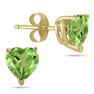 All-Natural Genuine 7 mm, Heart Shape Peridot earrings set in 14k Yellow gold