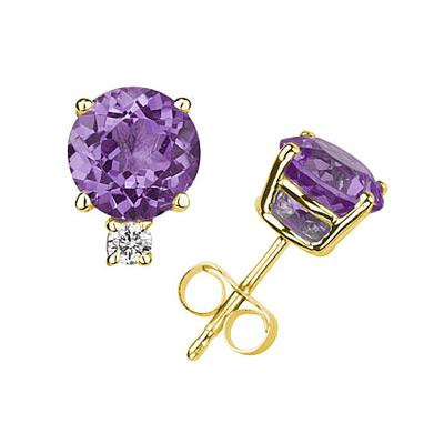 9mm Round Amethyst and Diamond Stud Earrings in 14K Yellow Gold