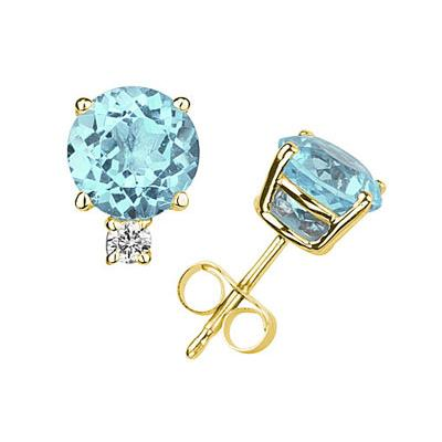 9mm Round Aquamarine and Diamond Stud Earrings in 14K Yellow Gold