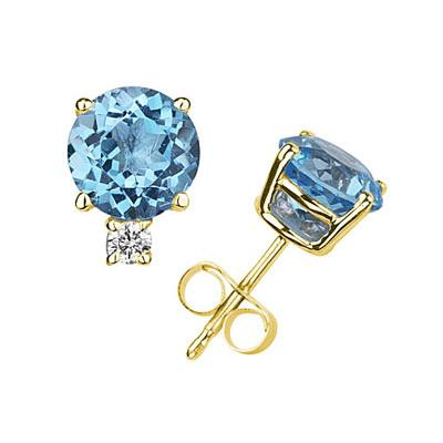 7mm Round Blue Topaz and Diamond Stud Earrings in 14K Yellow Gold
