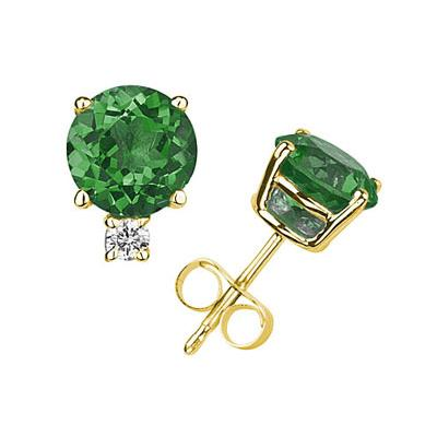 5mm Round Emerald and Diamond Stud Earrings in 14K Yellow Gold