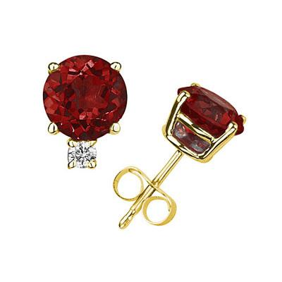 7mm Round Garnet and Diamond Stud Earrings in 14K Yellow Gold