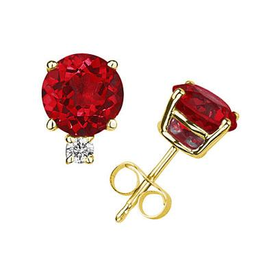 4mm Round Ruby and Diamond Stud Earrings in 14K Yellow Gold