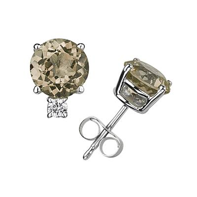 9mm Round Smokey Quartz and Diamond Stud Earrings in 14K White Gold